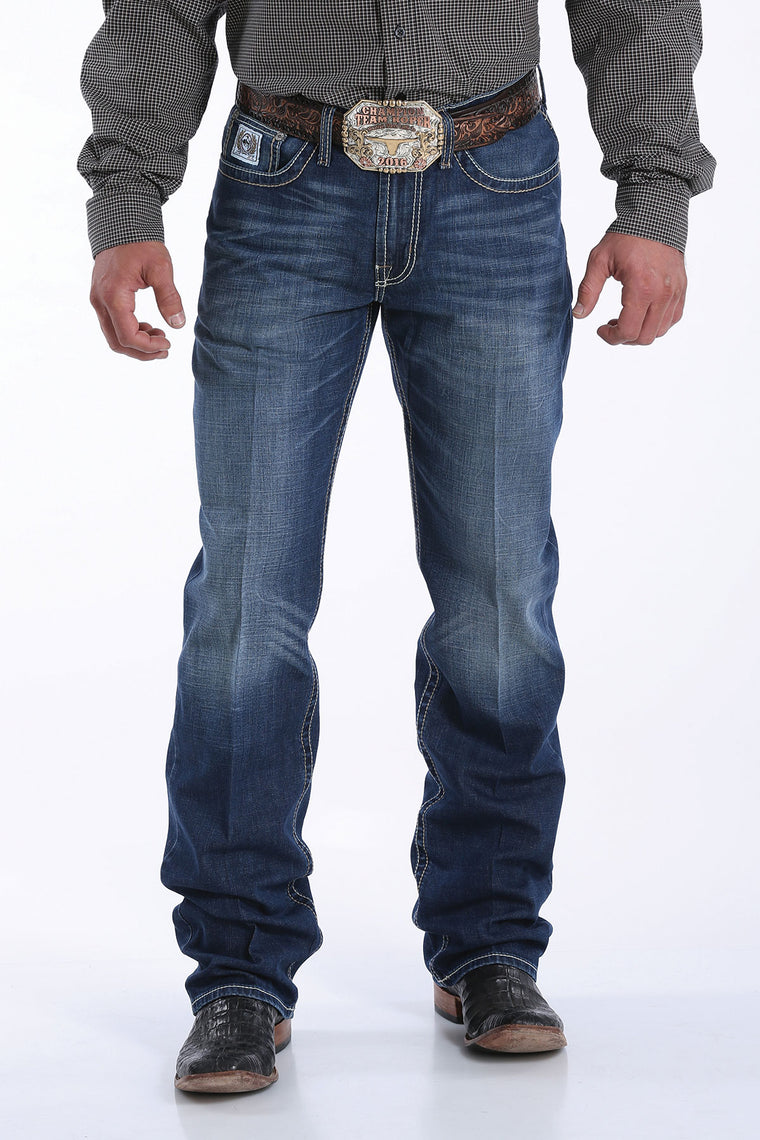 Cinch Mens White Label Mid Rise Relaxed Fit Straight Leg Jean Dark Stonewash 4033