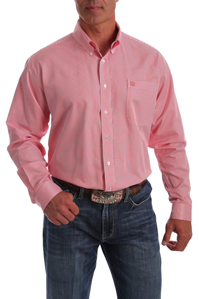 Cinch Mens Stripe Western Button-Down Shirt Salmon Pink/White