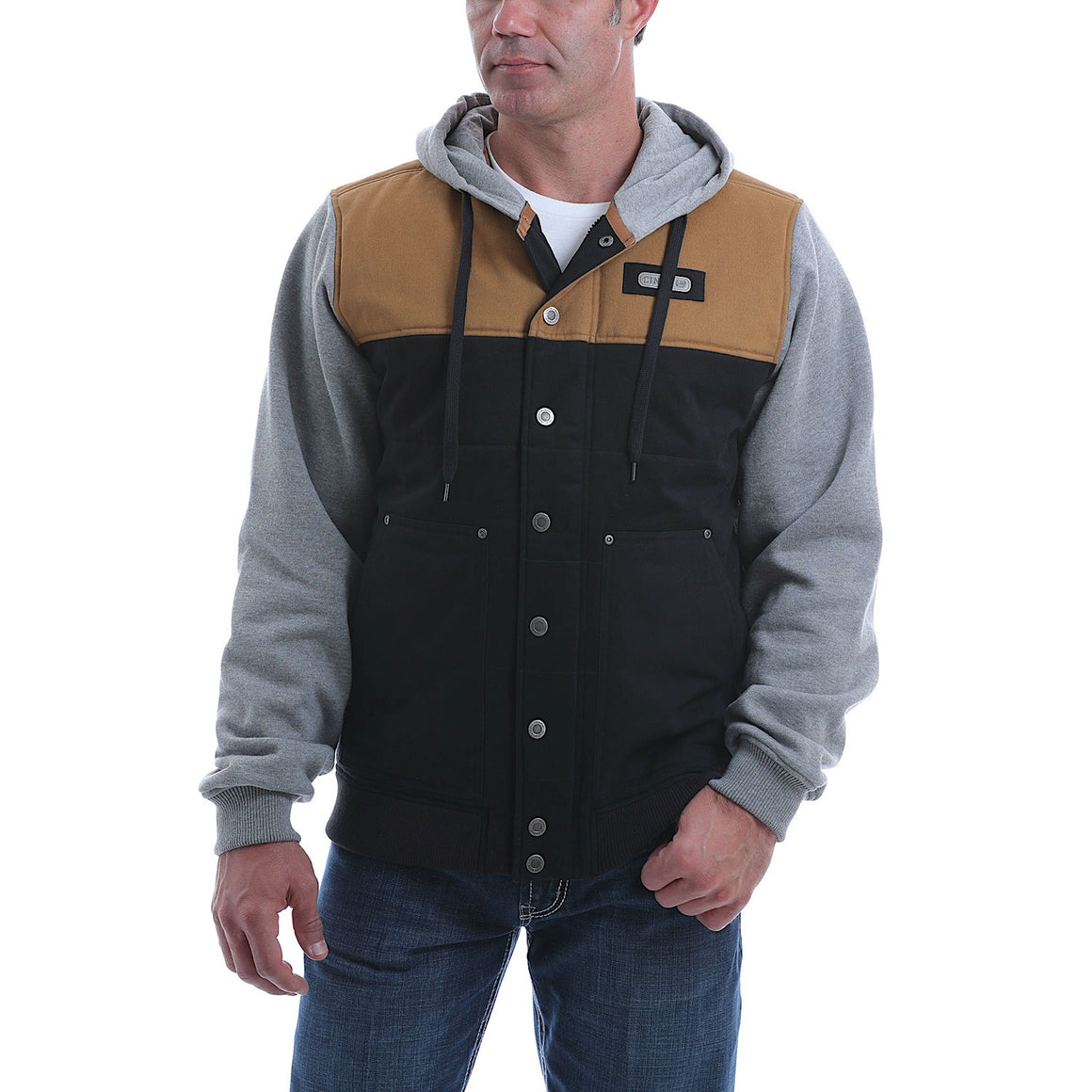 Cinch Mens Colour Blocked Canvas Hoodie Jacket Black/Tan