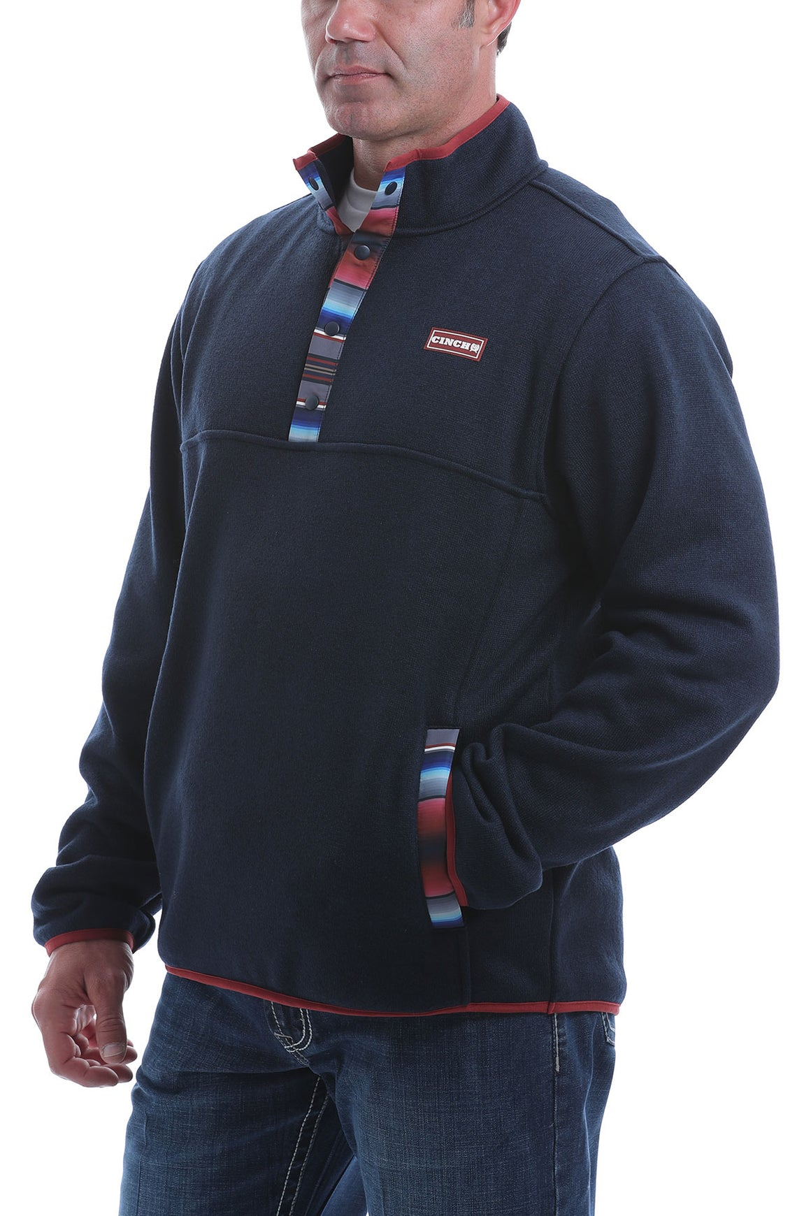 Cinch Mens Heavyweight Sweater Knit Pullover Navy