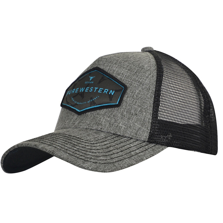 Pure Western Mens James Trucker Cap Grey Marle P0S1928CAP