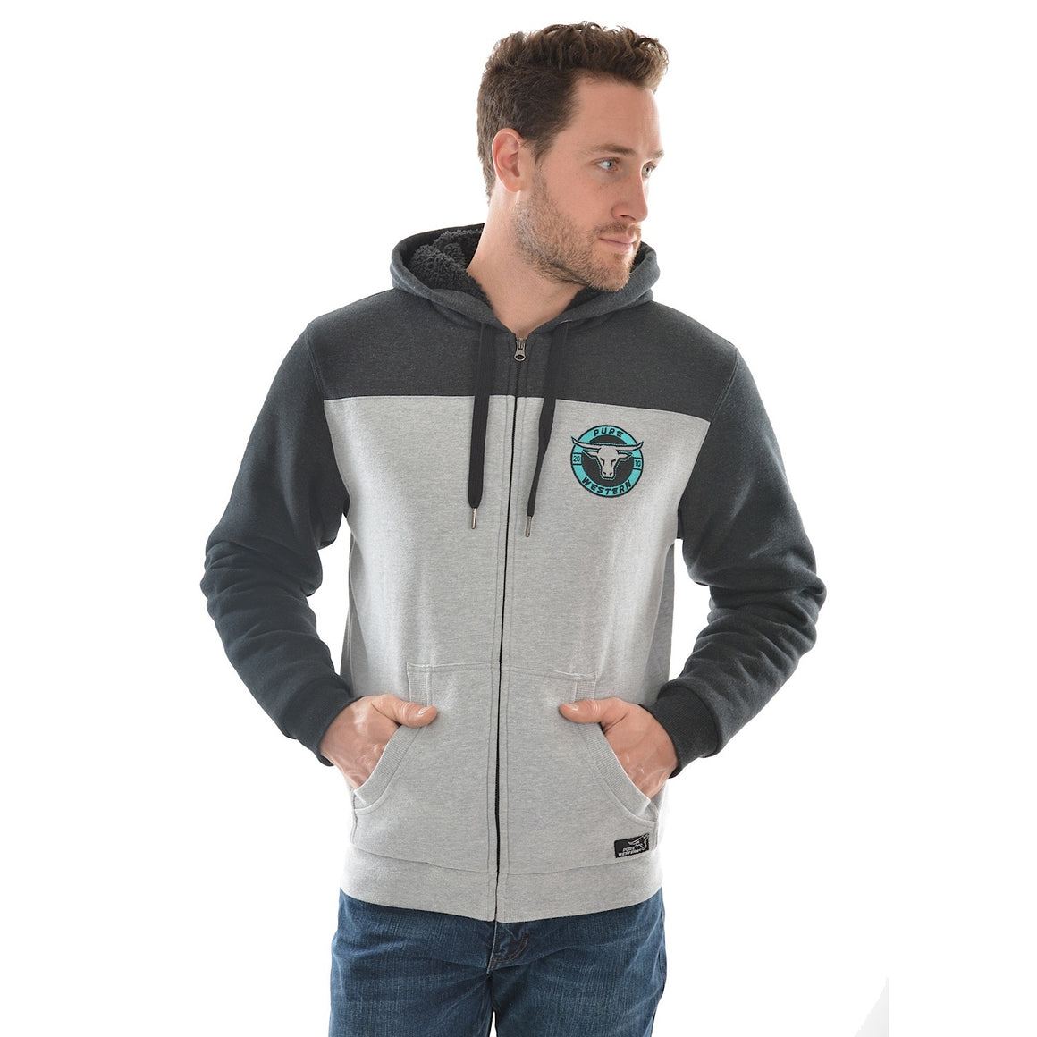 Pure Western Mens Cambridge Zip Up Hoodie Grey Marle
