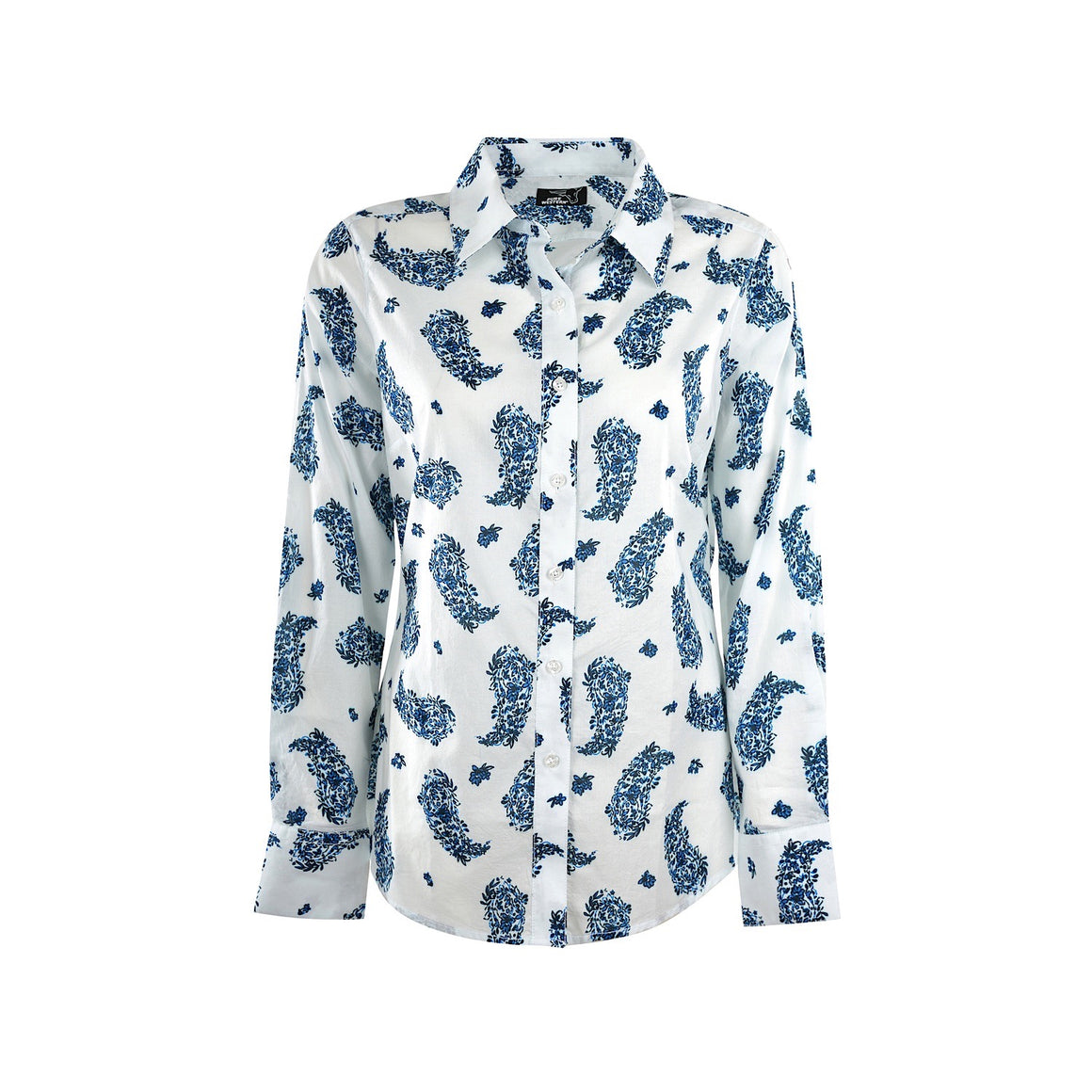 Pure Western Womens Lina Print L/S Shirt White/Blue