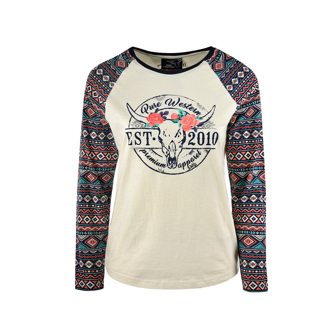 Pure Western Womens Miranda L/S Baseball Tee Cream/Multi