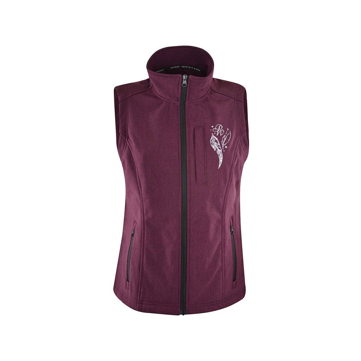 Pure Western Womens Angela Soft Shell Vest Plum