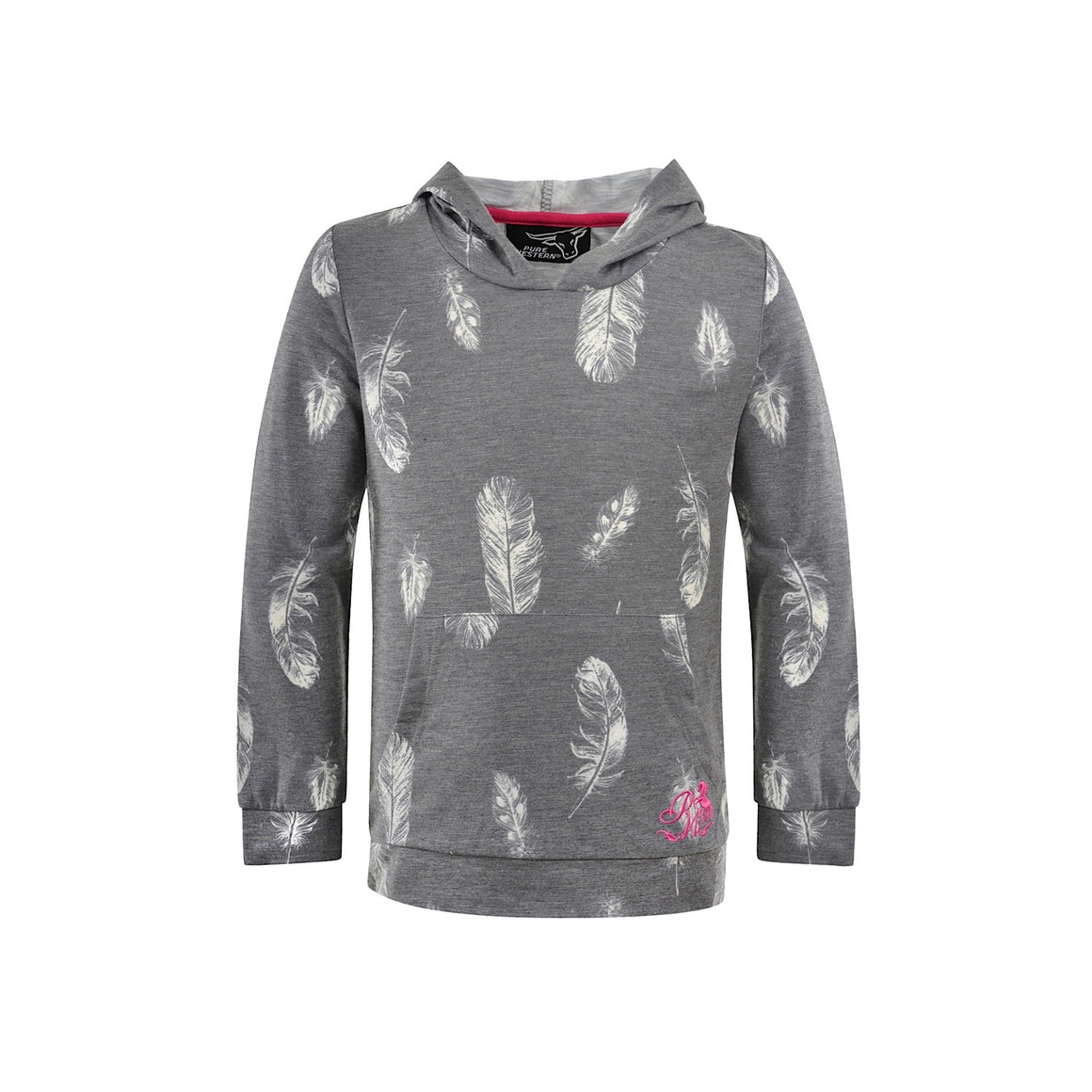 Pure Western Girls Tina Hooded Tee Charcoal
