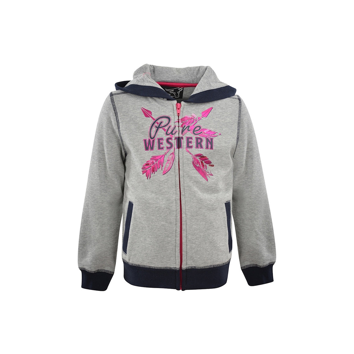 Pure Western Girls Priscilla Zip Through Hoodie Light Grey Marle