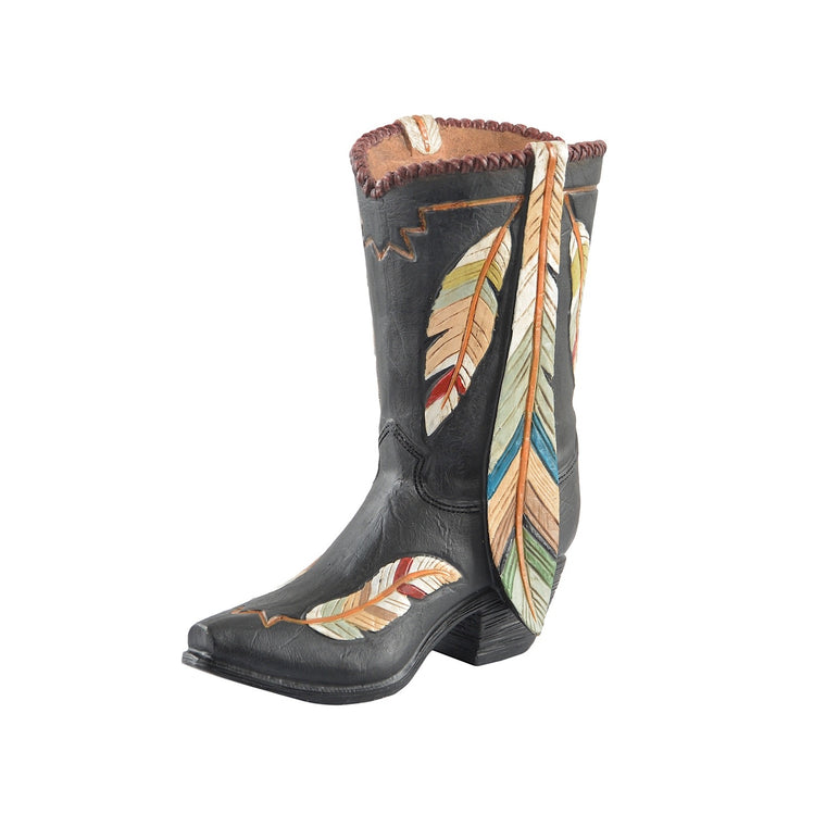 Pure Western Coloured Feathers Boot Vase P9S1915GFT