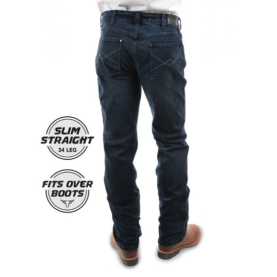 Pure Western Mens Heath Slim Boot Cut Jean Dark Night