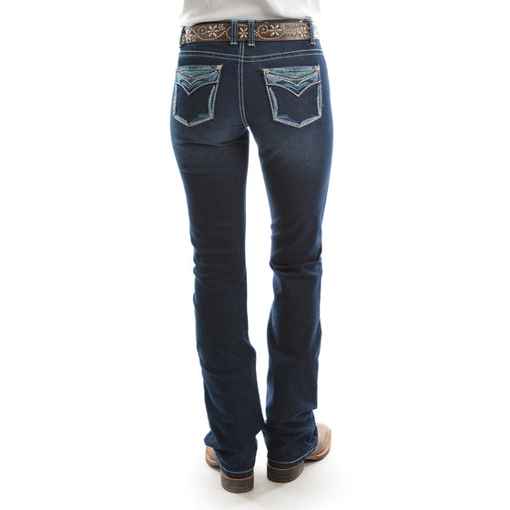 "Pure Western Womens Alice Relaxed Rider Jean 36"" Leg Darkest Night"