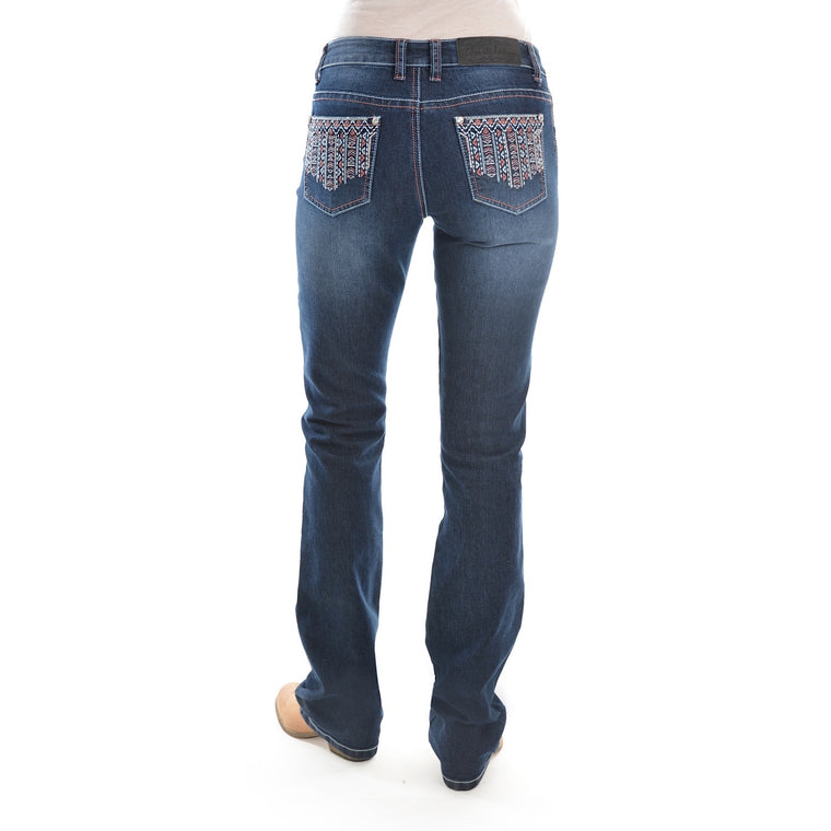 "Pure Western Womens Angie Relaxed Rider Jean 36"" Leg Midnight"
