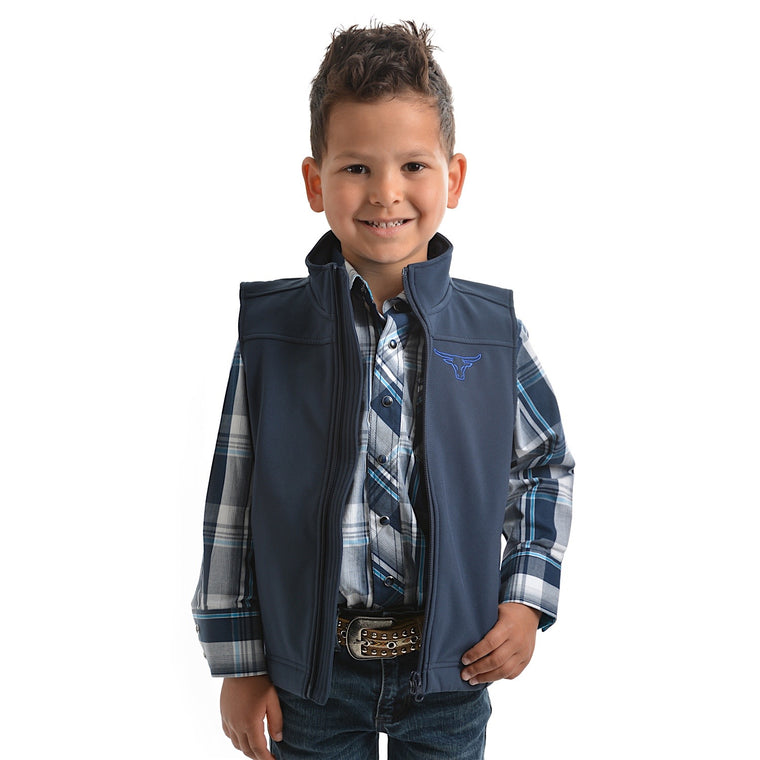 Pure Western Boys Soft Shell Vest Ink
