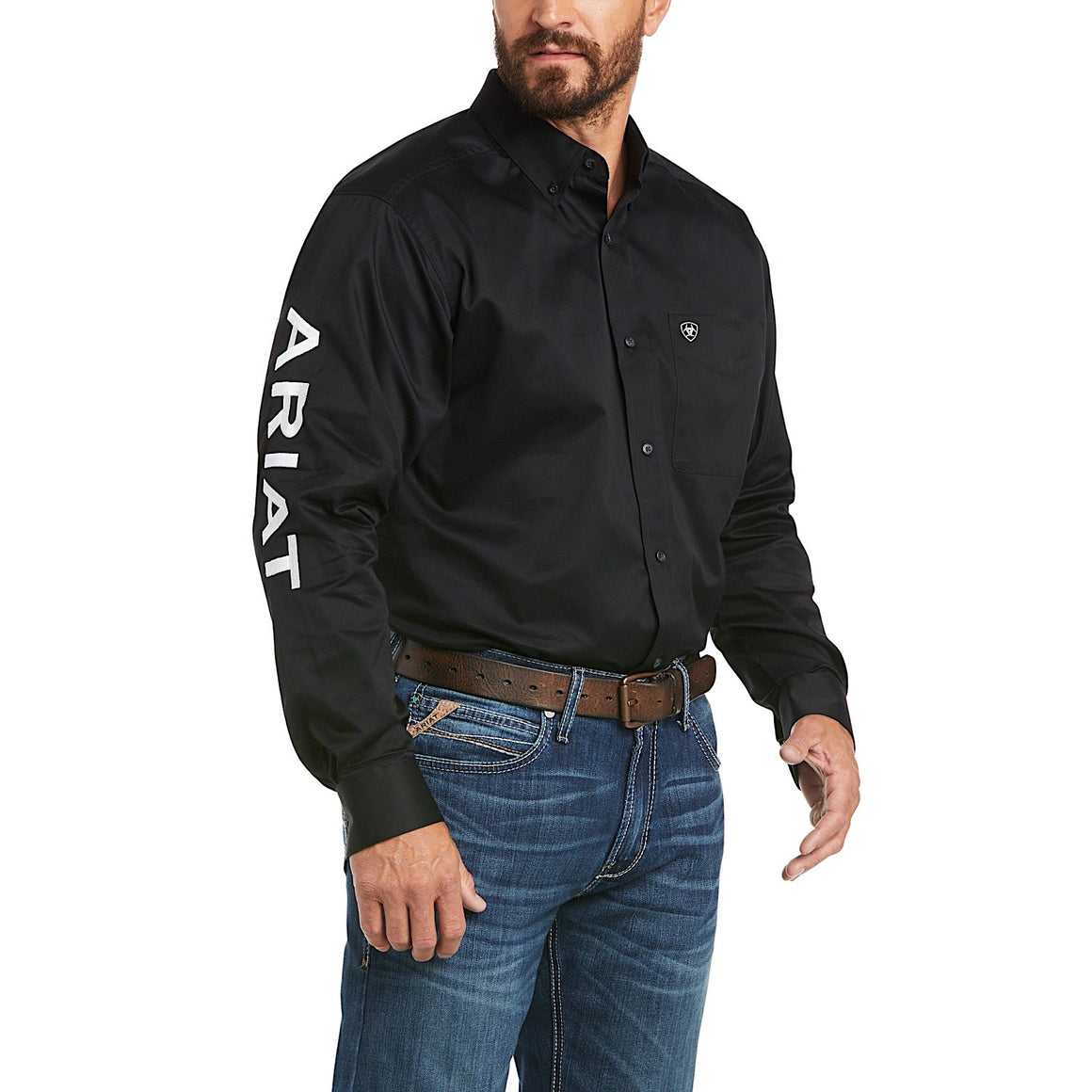 Ariat Mens Logo Twill Classic Fit Shirt Black/White