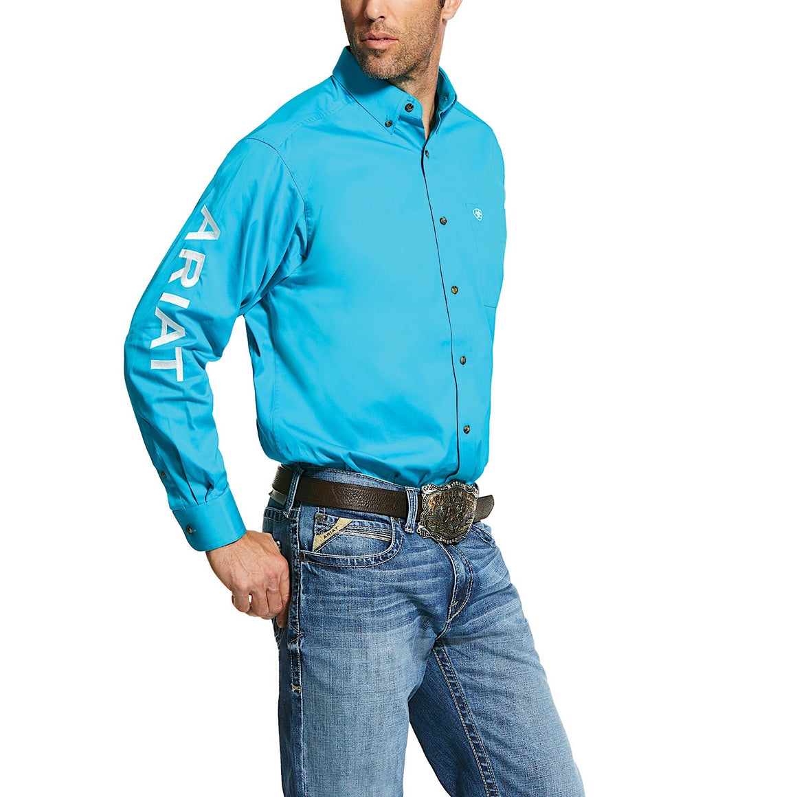 Ariat Mens Logo Twill Classic Fit Shirt Blue Bird