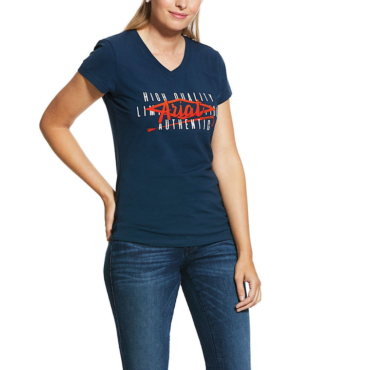 Ariat Womens Crop Logo Tee Deep Petroleum