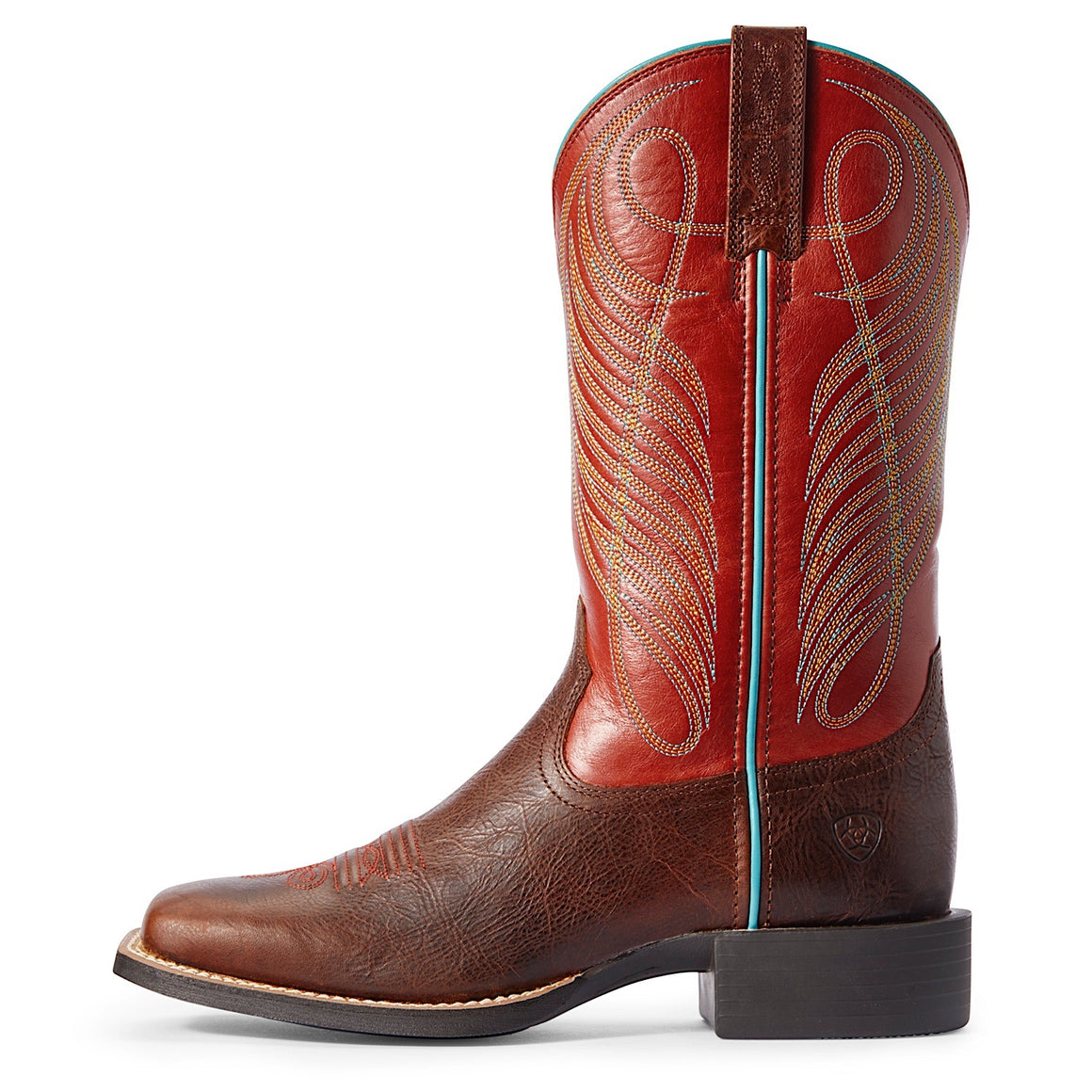 Ariat Womens Round Up Wide Square Toe Western Boot Brown Patina/Brick Red