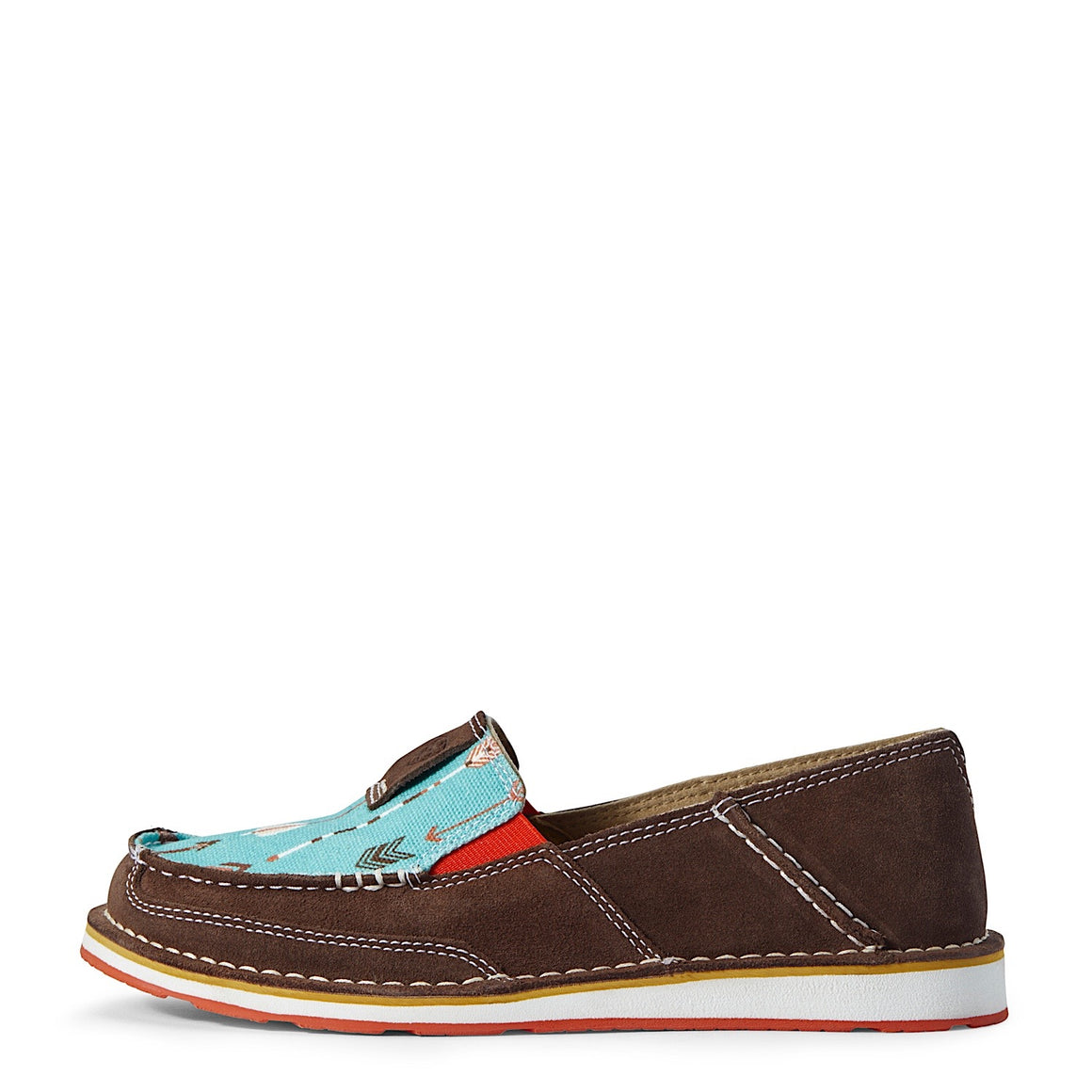 Ariat Womens Cruiser Chocolate Suede/Turquoise Arrows
