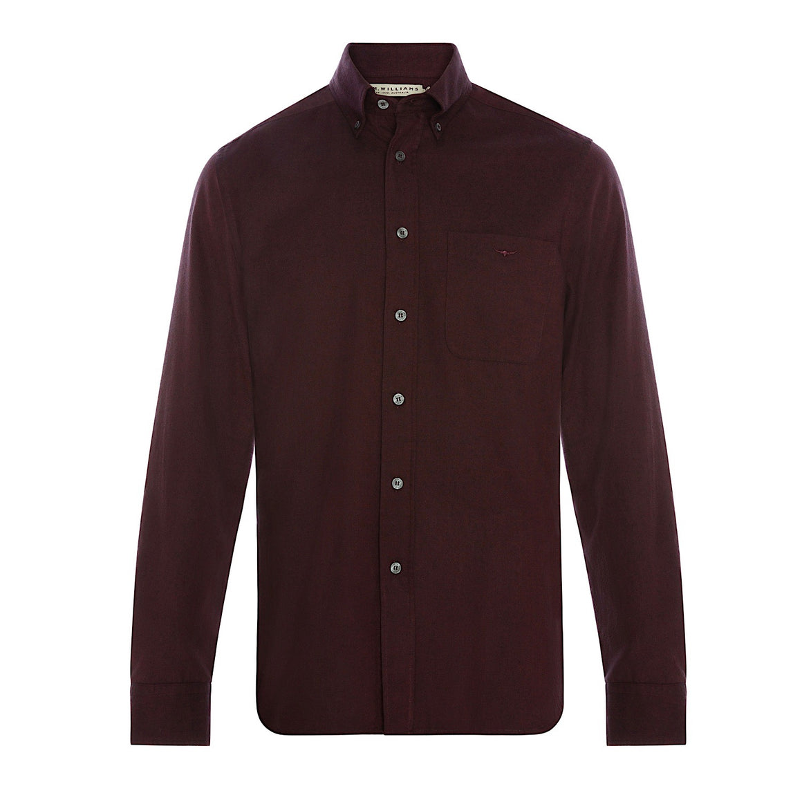 R.M.Williams Jervis Button Down Shirt Black/Burgundy Slim Fit