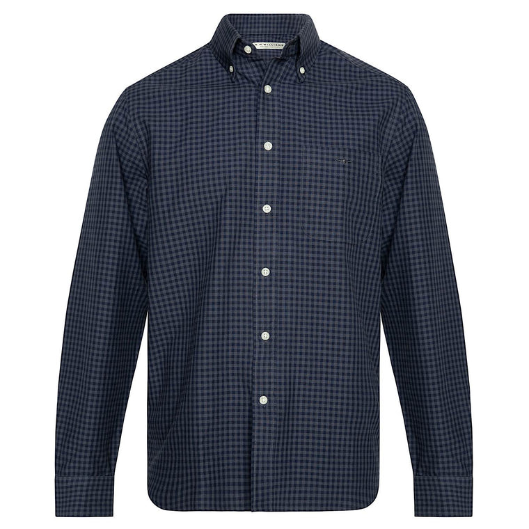 R.M.Williams Collins Button Down Shirt Blue/Black Regular Fit