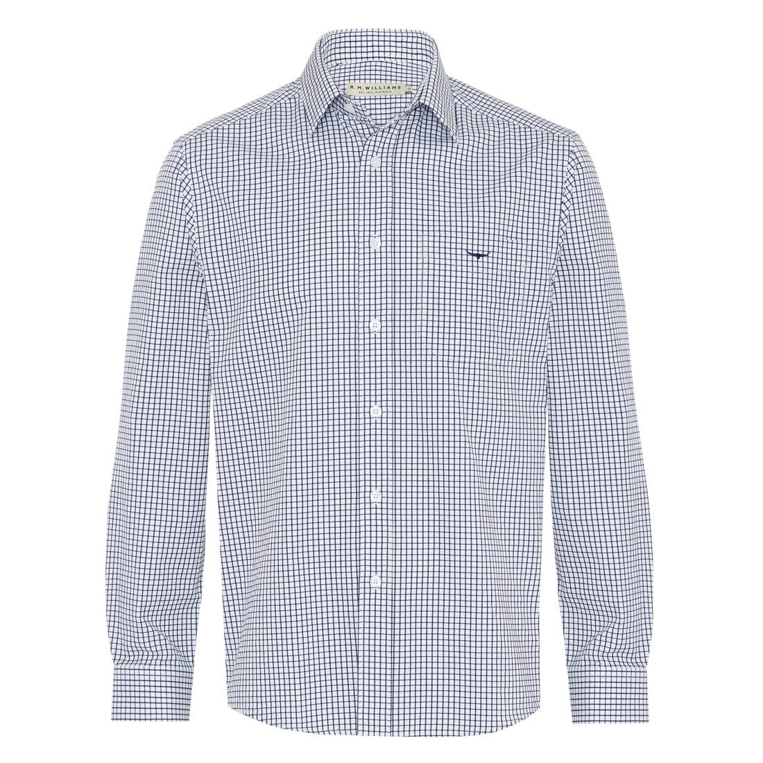 R.M.Williams Collins Shirt Navy/White Small Check Regular Fit