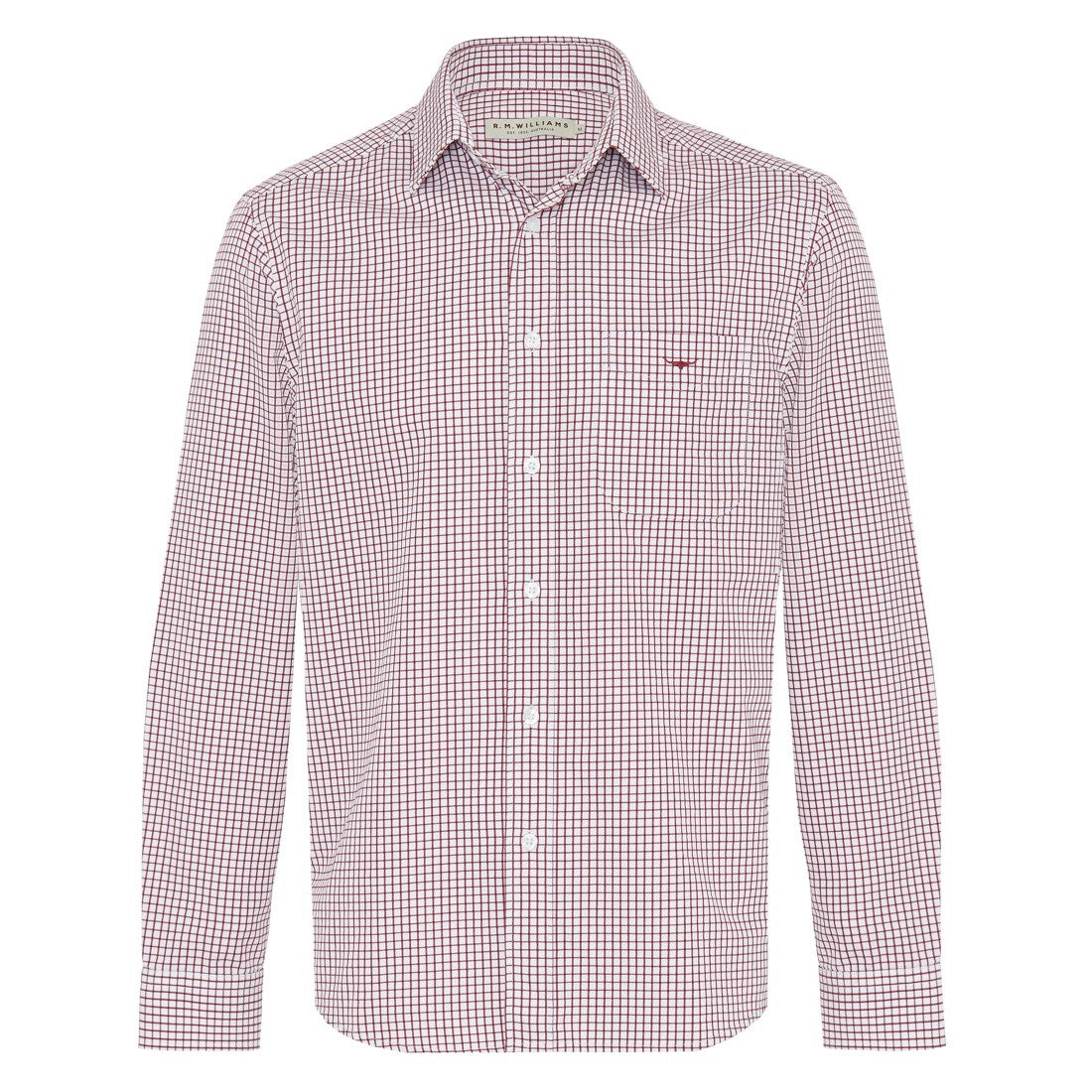 R.M.Williams Collins Shirt Burgundy/White Small Check Regular Fit