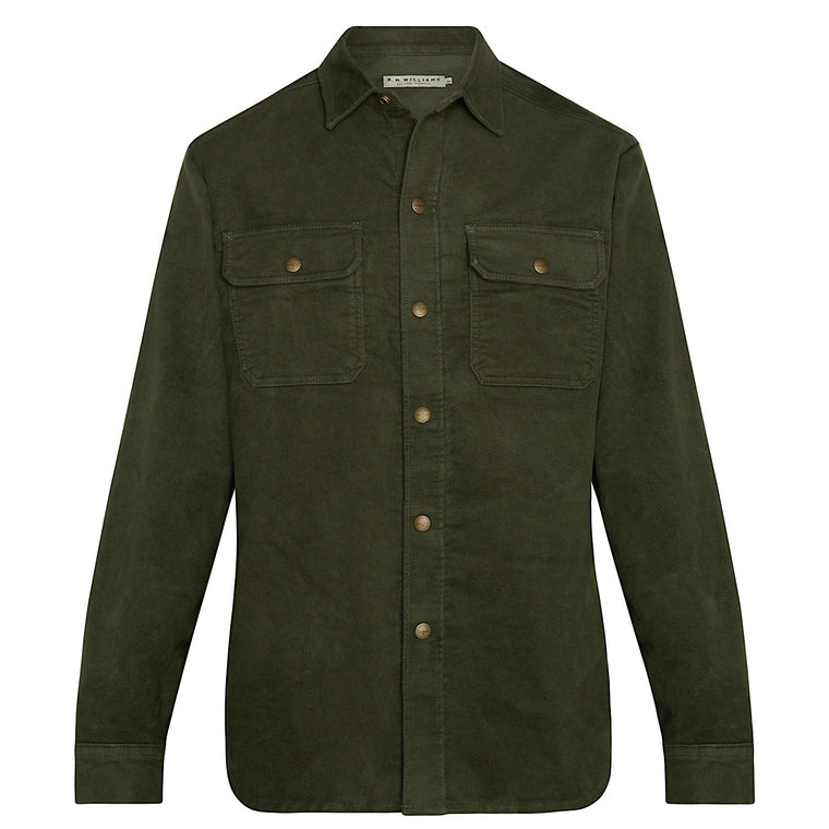 R.M.Williams Workwear Moleskin Overshirt Ink Olive