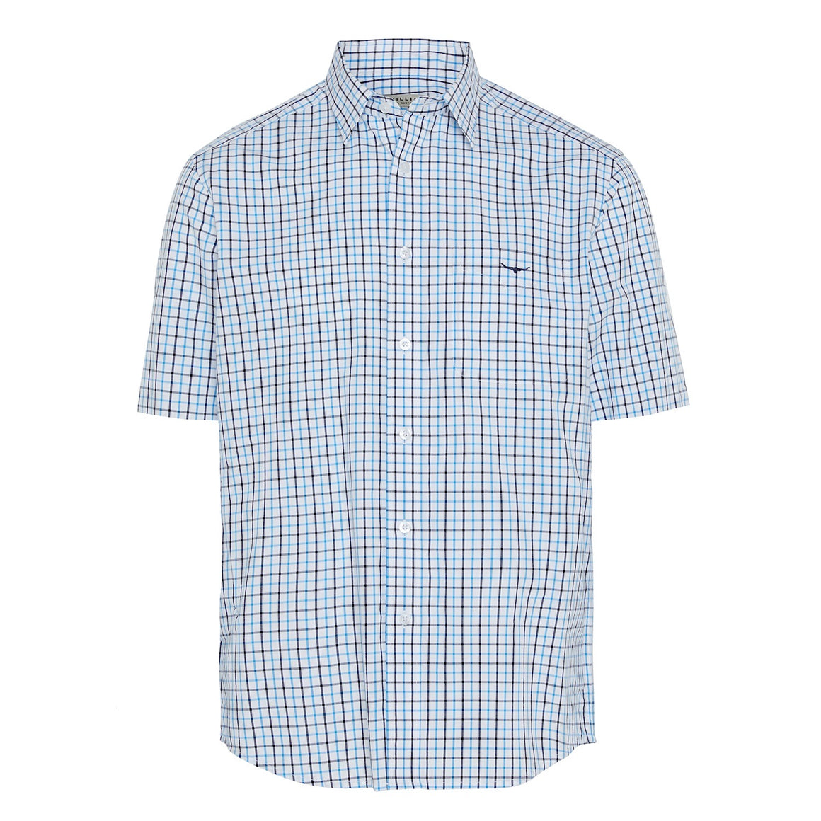 R.M.Williams Hervey Shirt White/Aqua Check Regular Fit