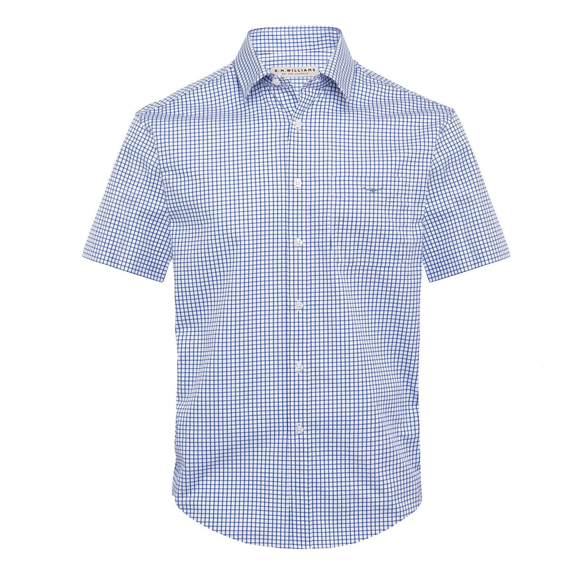 R.M.Williams Hervey Shirt White/Blue Check Regular Fit