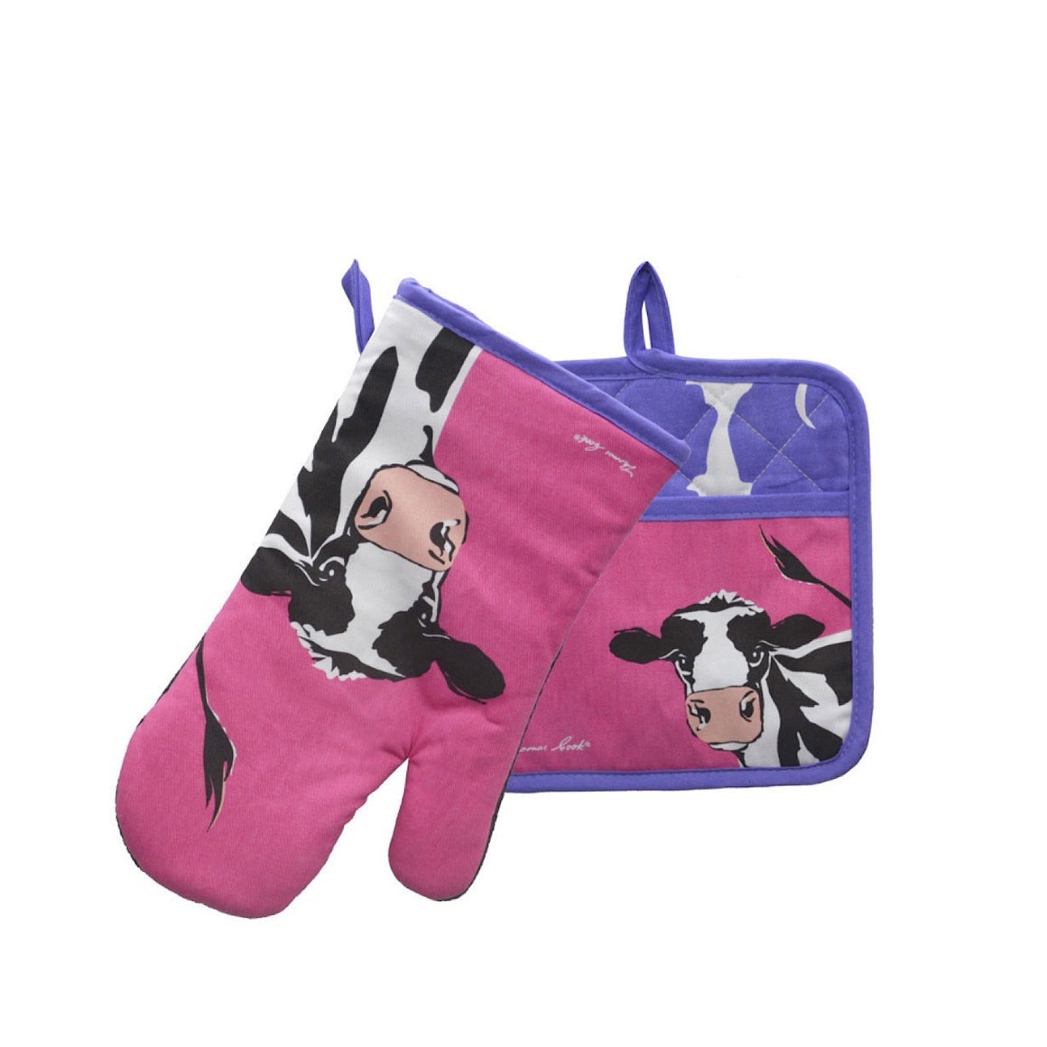 Thomas Cook Oven Mitt & Pot Holder Set Cleo Cow TCP2922096