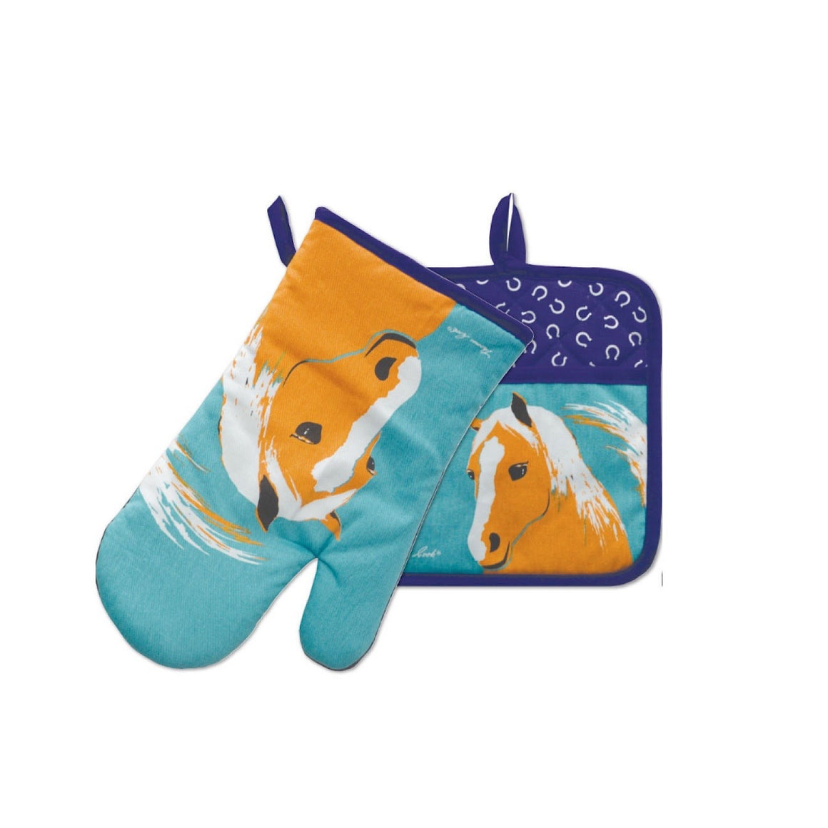 Thomas Cook Oven Mitt & Pot Holder Set Horse