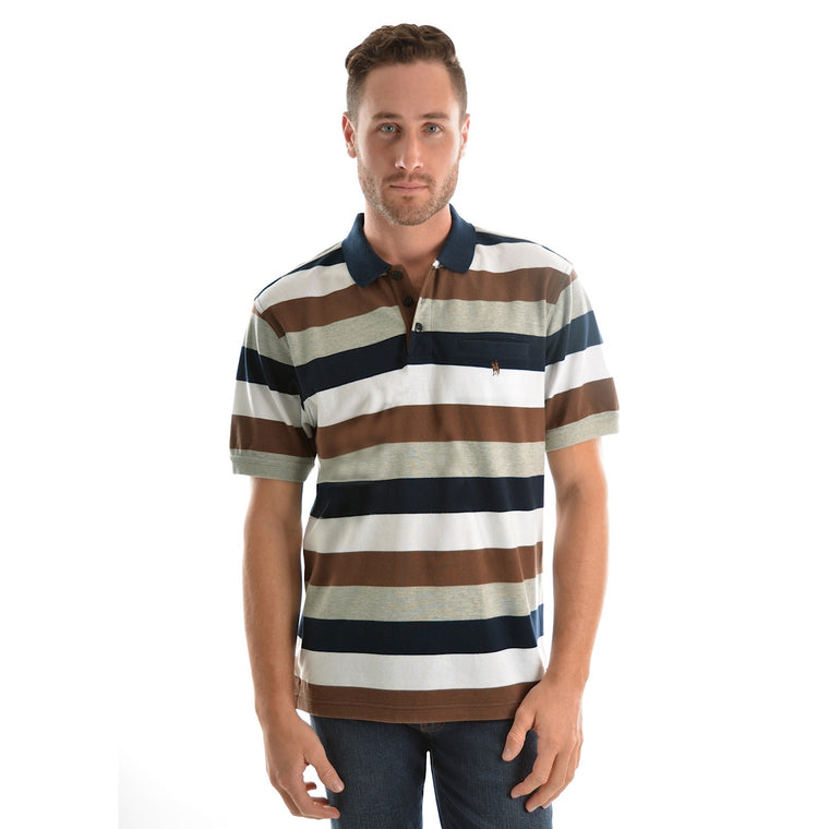 Thomas Cook Mens Hopetown Stripe 1 Pocket S/S Polo Navy/Dark Brown