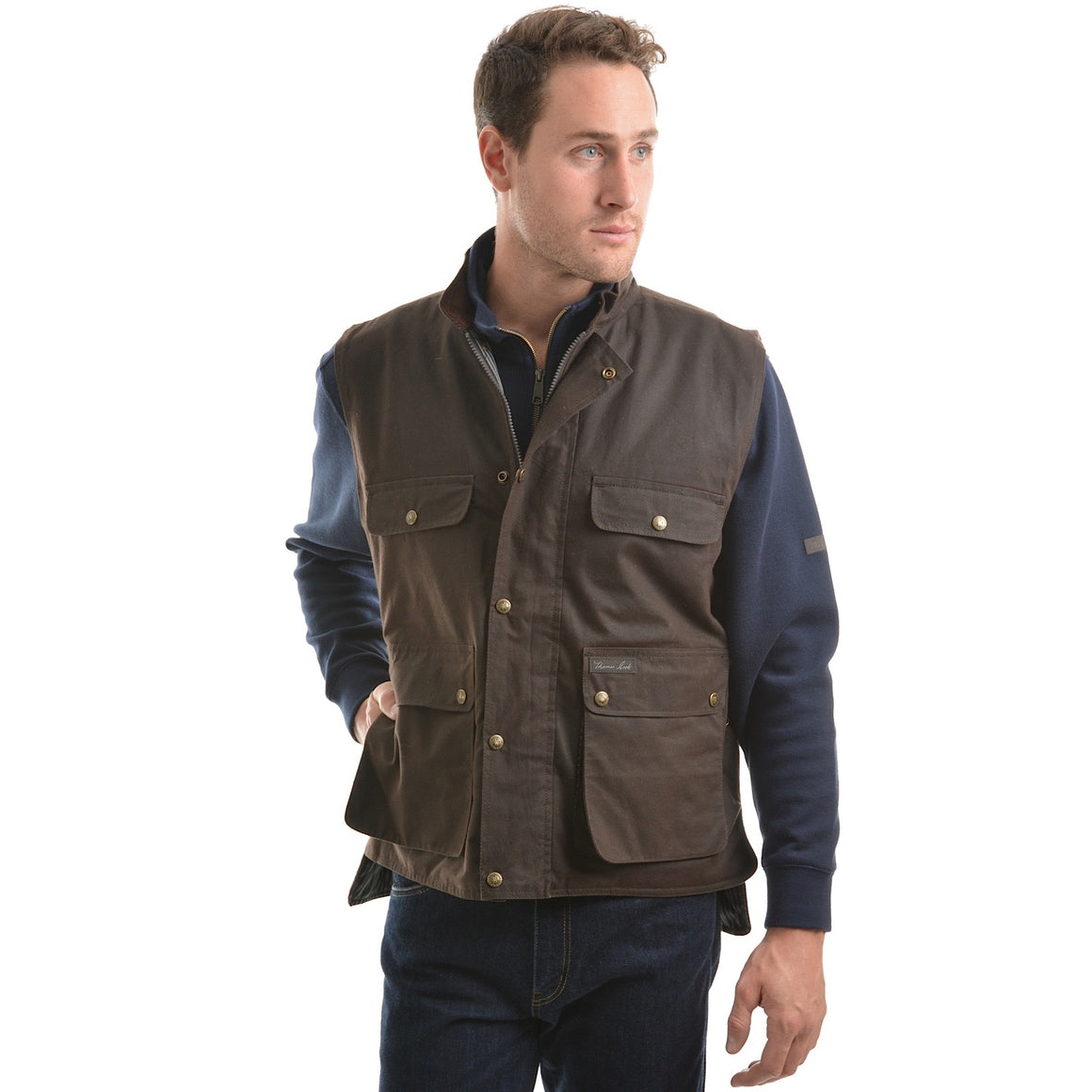 Thomas Cook Mens High Country Professional Oilskin Vest Rustic Mulch