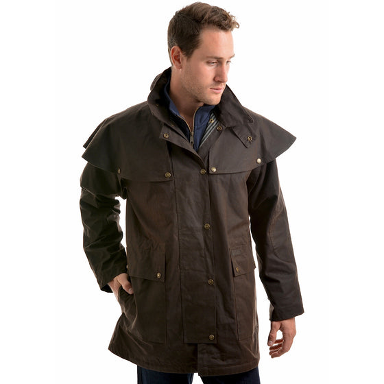 Thomas Cook Mens High Country Professional Oilskin Short Coat Rustic Mulch