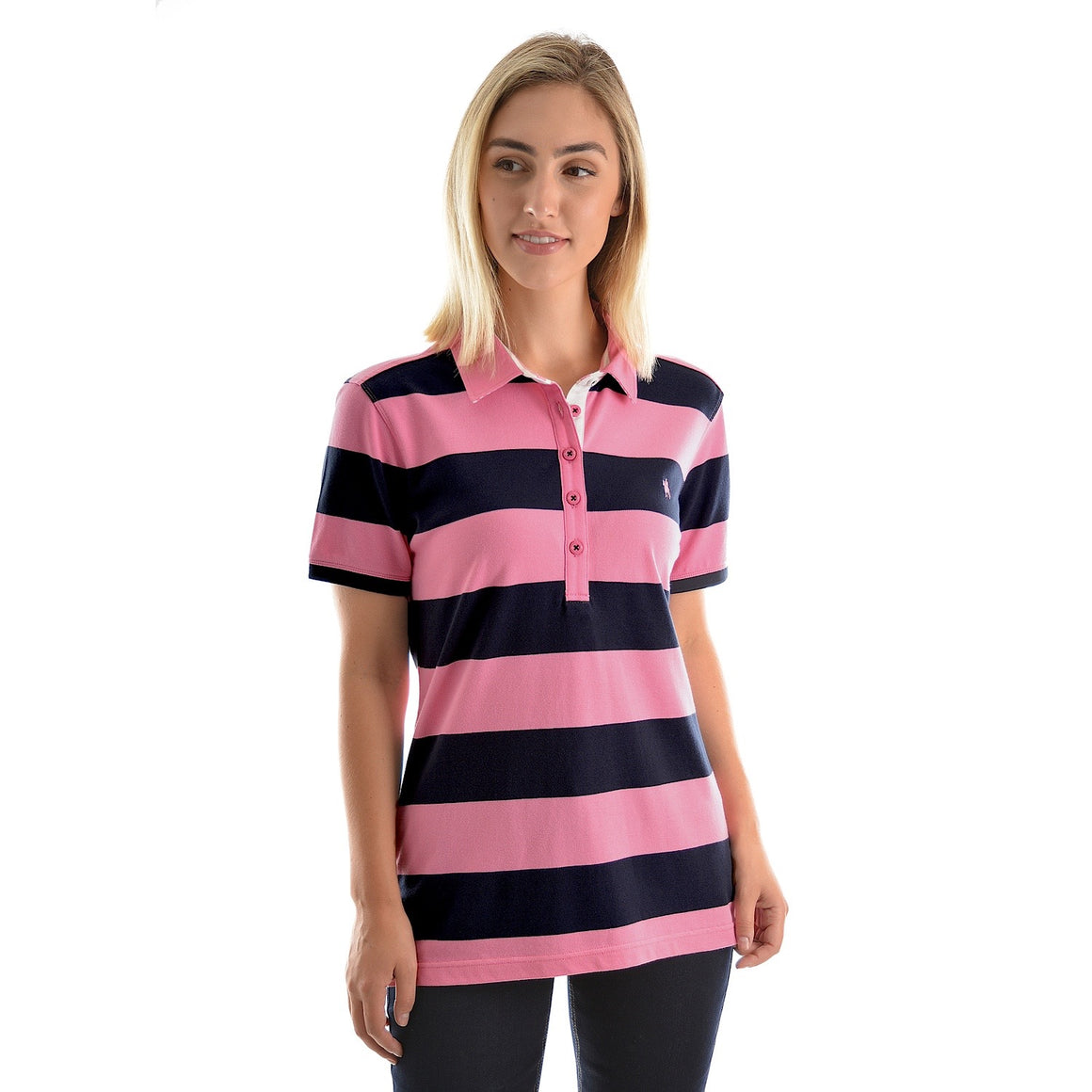 Thomas Cook Womens Rachel Stripe S/S Polo Soft Pink/Dark Navy