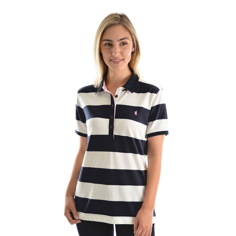 Thomas Cook Womens Rachel Stripe S/S Polo White/Dark Navy