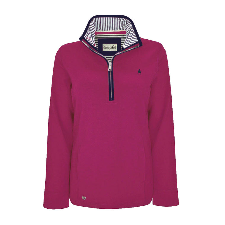 Thomas Cook Womens Charlie Classic 1/4 Zip Neck Rugby Deep Pink