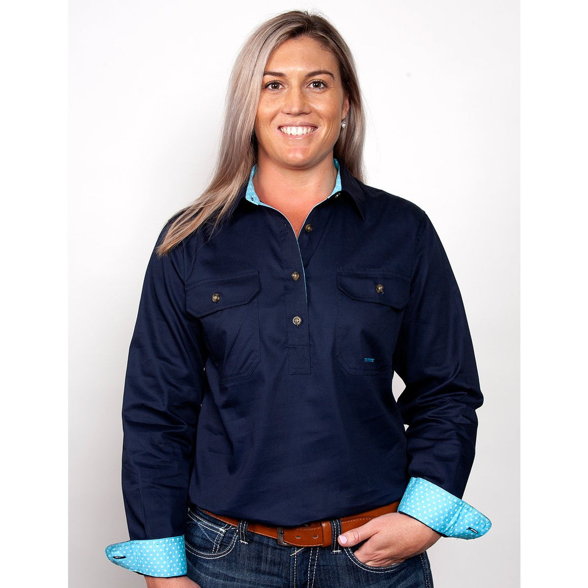 Womens Jahna Trim Half Button Work Shirt Navy