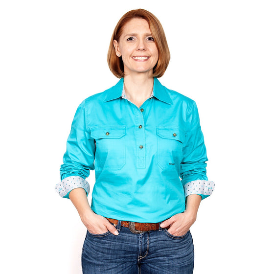 Womens Jahna Trim Half Button Work Shirt Turquoise