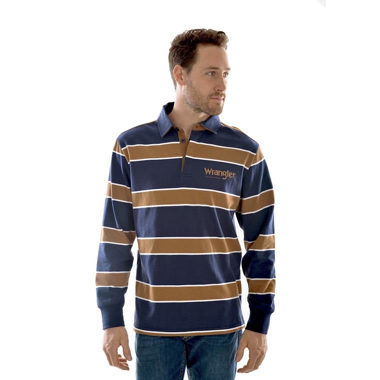 Wrangler Mens Finch Stripe Rugby Navy