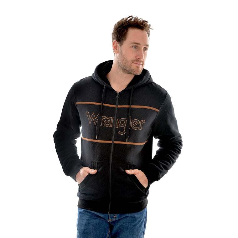 Wrangler Mens Jefferson Zip Up Hoodie Black