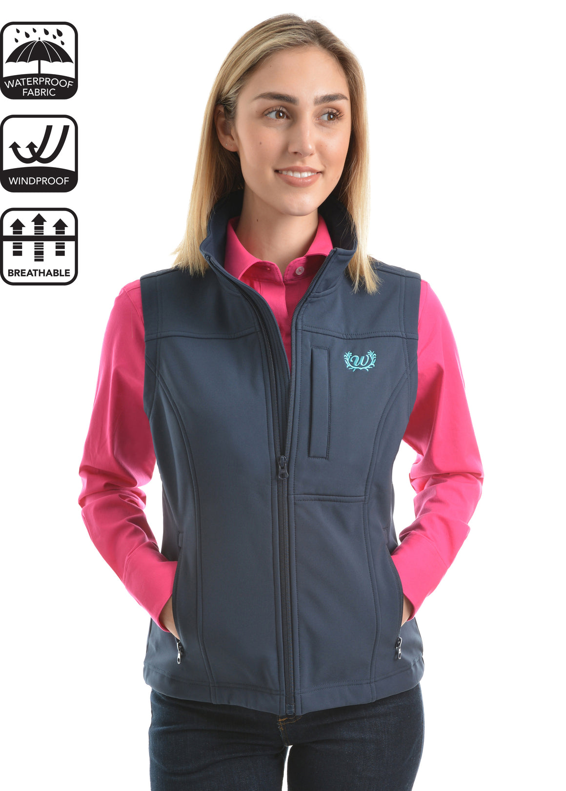 Wrangler Womans Logo Soft Shell Vest Ink