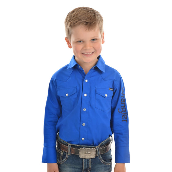 Wrangler Boys Logo Long Sleeve Drill Shirt Cobalt
