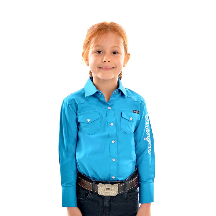 Wrangler Girls Logo Long Sleeve Drill Shirt Aqua