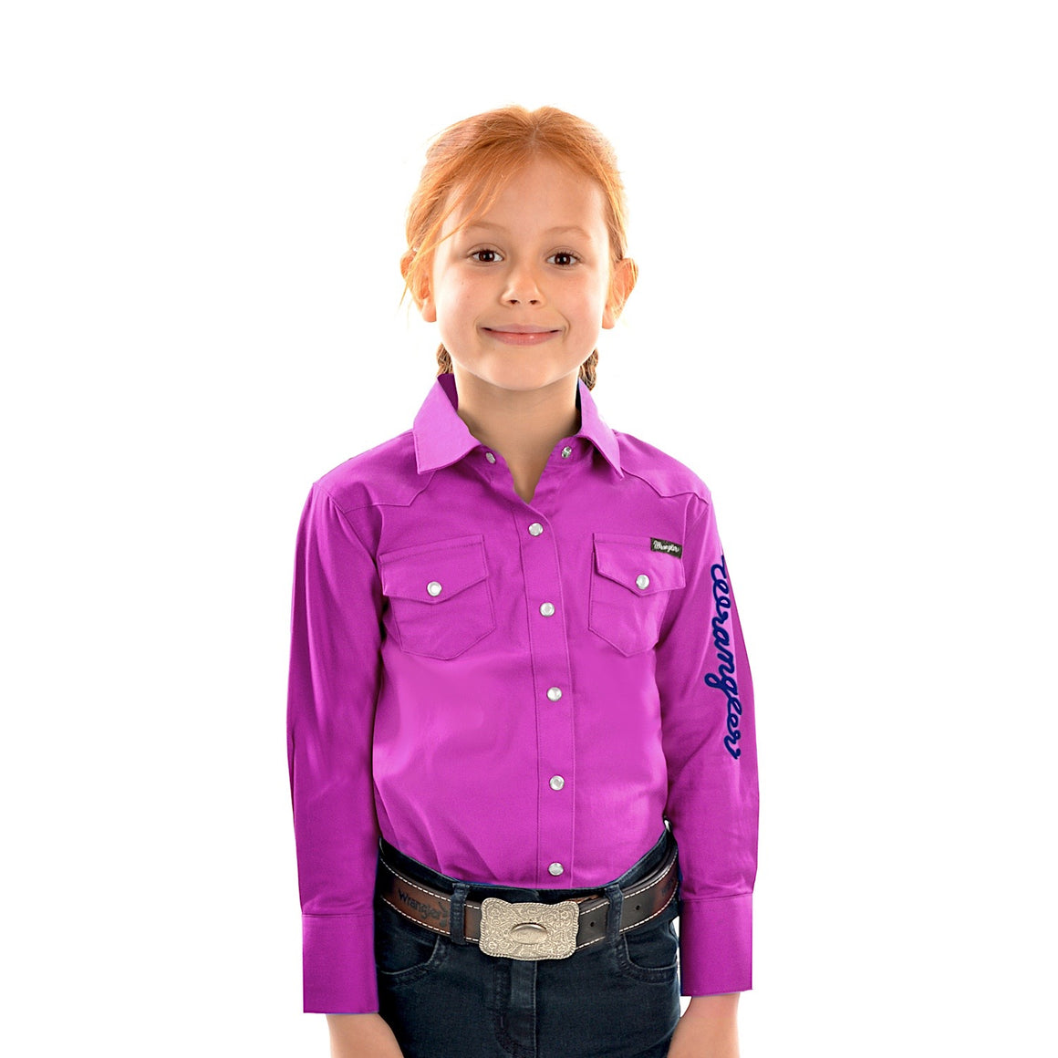 Wrangler Girls Logo Long Sleeve Drill Shirt Magenta