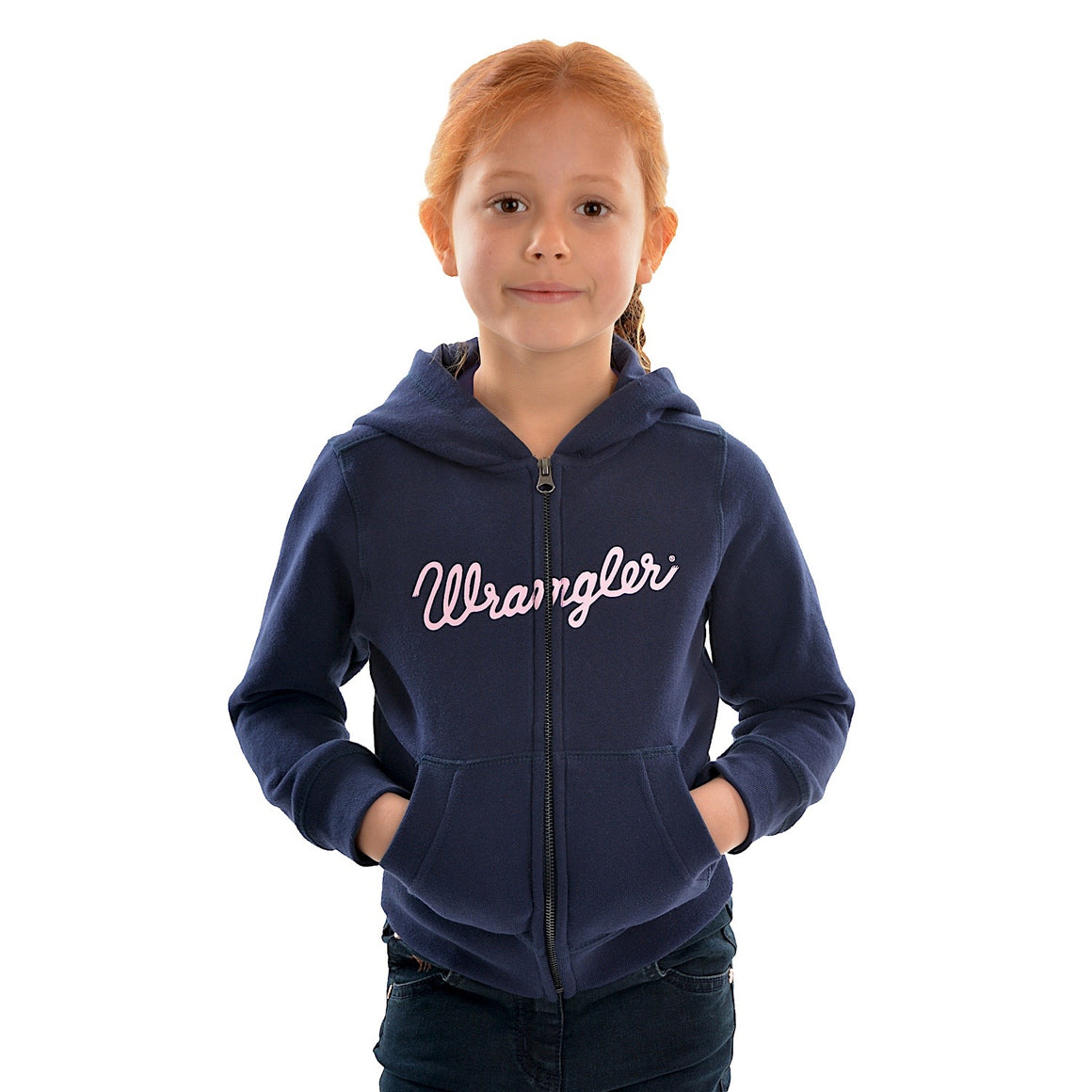 Wrangler Girls Logo Zip Up Hoodie Navy