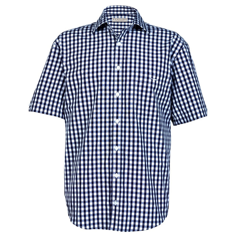 R.M.Williams Hervey Shirt Navy/White Check Regular Fit