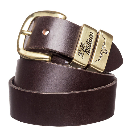 "R.M.Williams Chestnut 1 1/2"" Polished Brass 3 Piece Solid Hide Belt"