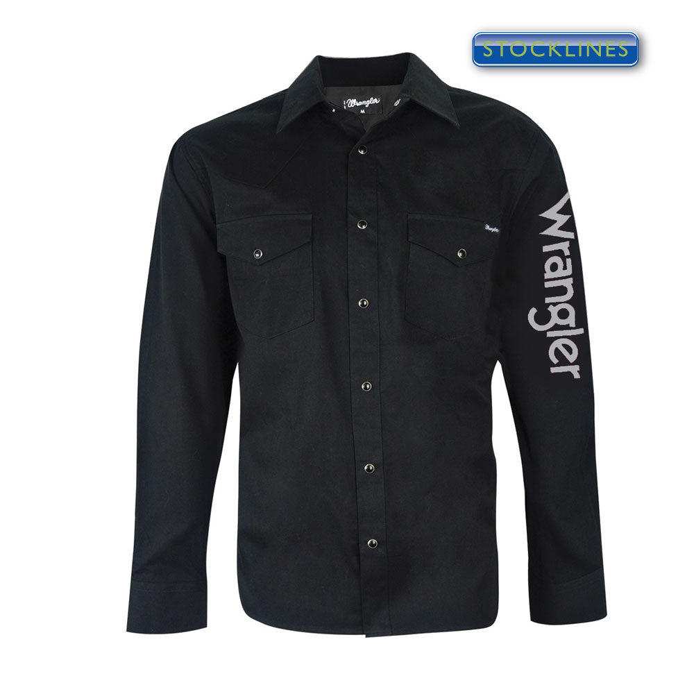 Wrangler Mens Logo Rodeo Shirt Black - XCP1116020
