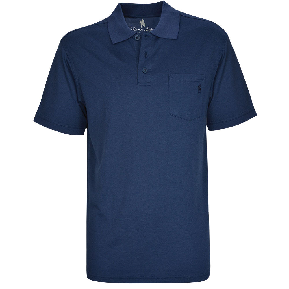 Thomas Cook Mens Bamboo 1 Pocket Polo Navy