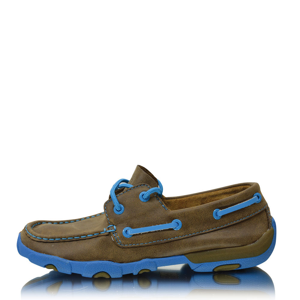 Twisted X Womens Casual Driving Moc Low Bomber/Neon Blue